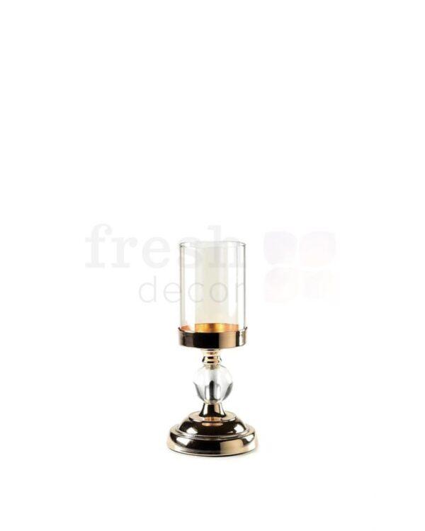 zolotye podsvechniki so stekljannymi kolpakami i stekljannymi sharikami na odnu shirokuju svechu 3