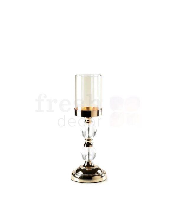 zolotye podsvechniki so stekljannymi kolpakami i stekljannymi sharikami na odnu shirokuju svechu 4