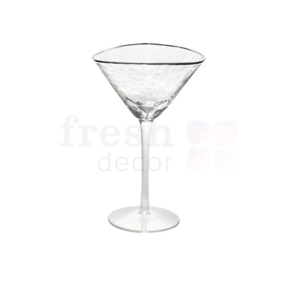 Prozrachnyj bokal dlja martini s serebrjanym kantom
