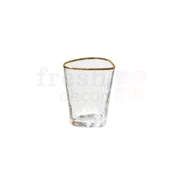 Prozrachnyj hejbol stakan dlja vody s zolotym kantikom