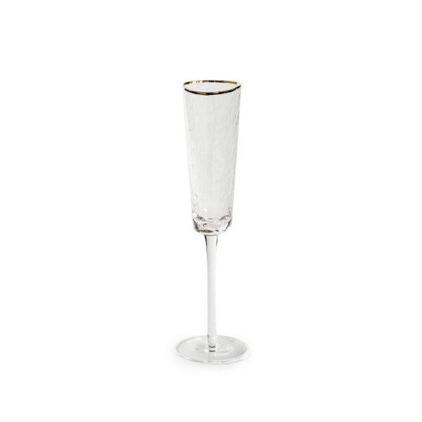 prozrachnyj bokal dlja shampanskogo s zolotym kantom