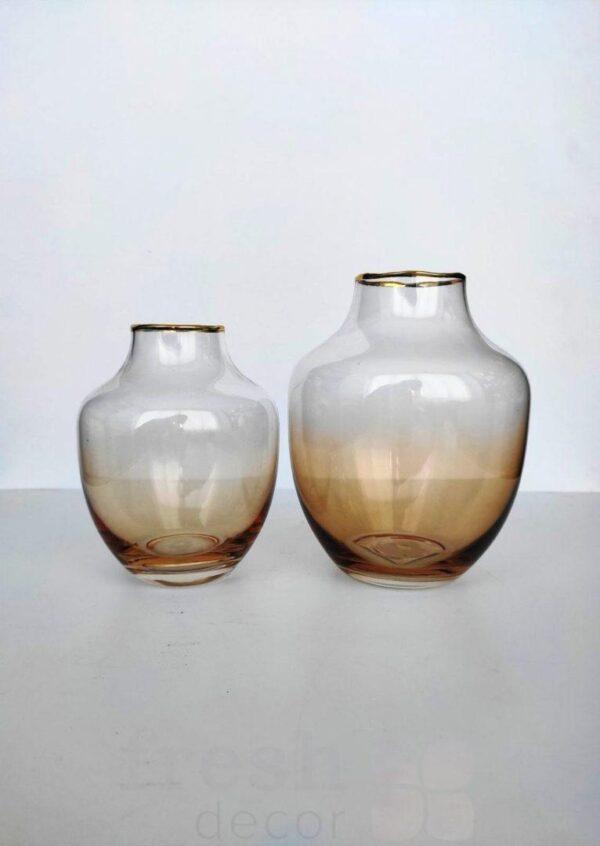 nabor vaz iz jantarnogo stekla