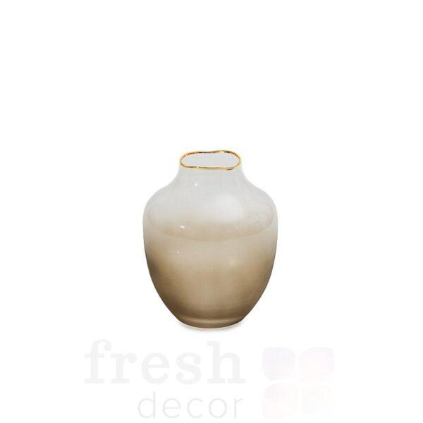 vaza dymchatato matovaja 15 sm s zolotym kantom