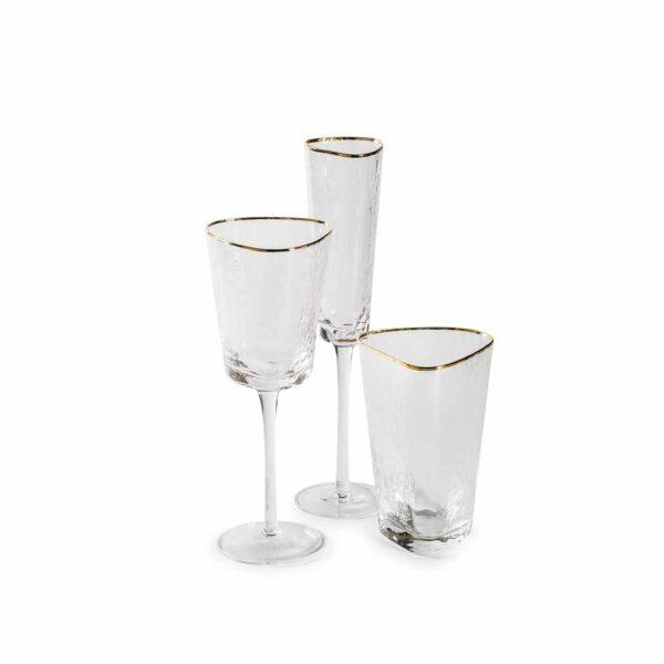 ice evans nabor prozrachnyh bokalov dlja vina i shampanskogo a takzhe vody s zolotym kantom