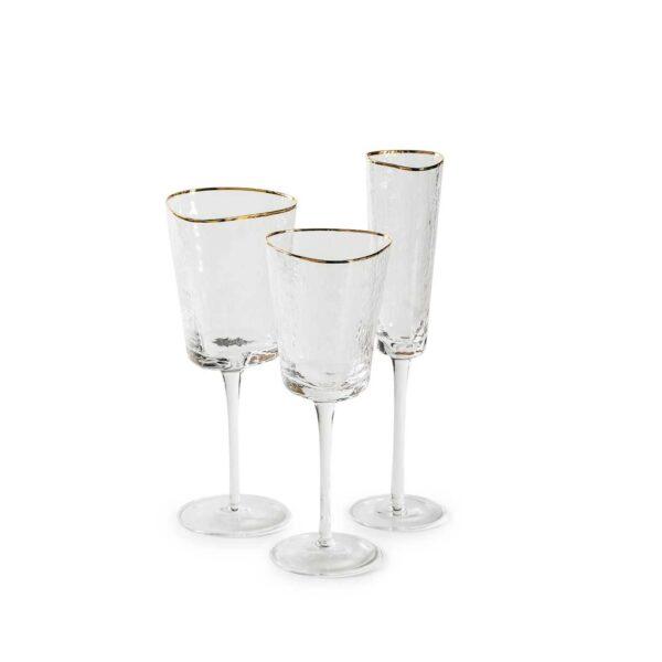 ice evans nabor prozrachnyh bokalov dlja vina i shampanskogo s zolotym kantom