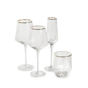 komplekt bokalov dlja vina shampanskogo i vody prozrachnyh iz 4 predmetov s zolotym kantom