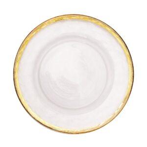 stolovaja tarelka torino prozrachnaja s zolotoj folgoj