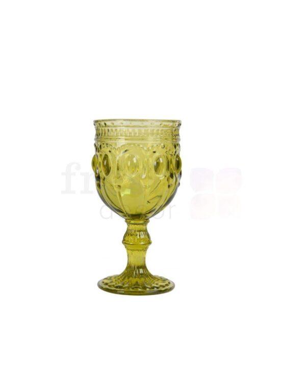 bokal dlya vina olivkovogo cveta s ornamentom 1