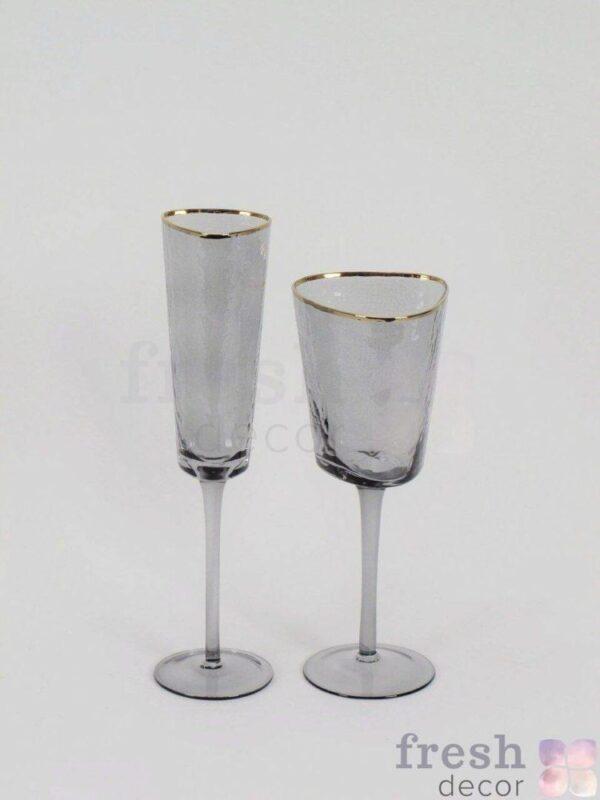dymchato serye bokaly dlya vina s zolotym kraem dlya shampanskogo i vina 3 1