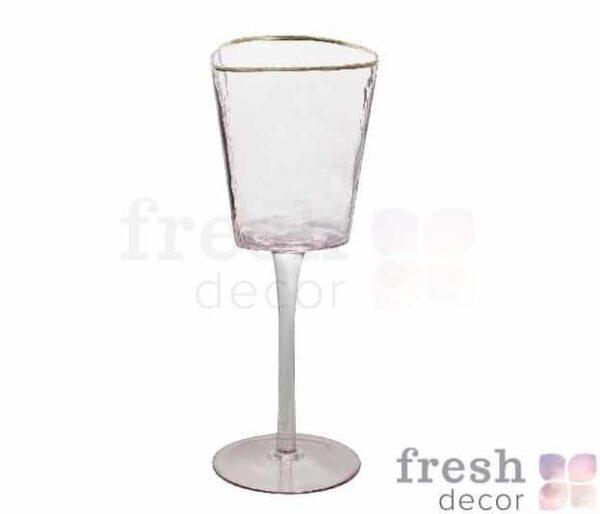 jevans dlja vina rozovye s moroznogo stekla s zolotym obodkom 1 1