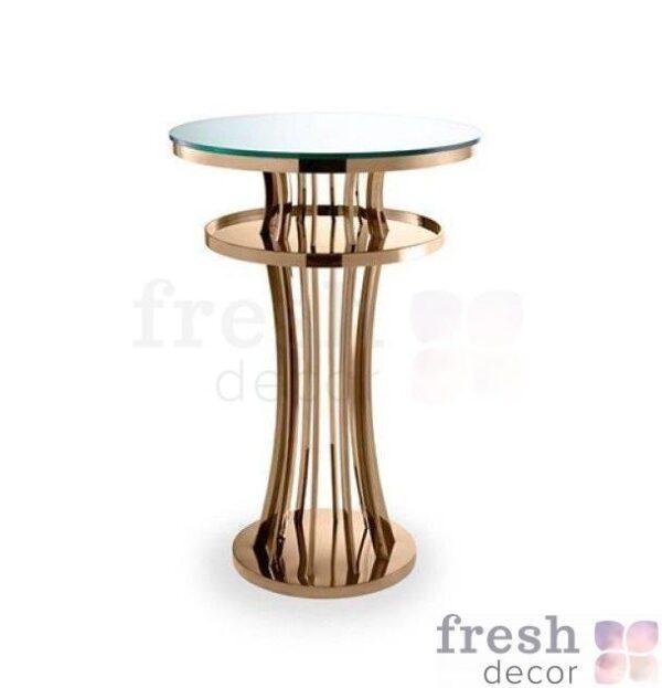 koktejlnyj kruglyj zolotoj stolik electra iz nerzhavejki dlya vecherinok i iventov 1