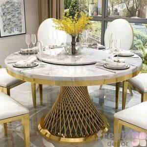kruglyj zolotoj obedenyj stol 130 sm diametra s mramornoj stoleshnicej 1