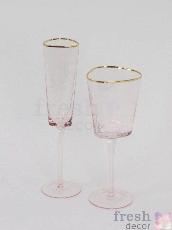 rozovye steklyanye bokaly dlya vina i shampanskogo na dlinnoj nozhke s zolotym kantom 2 1