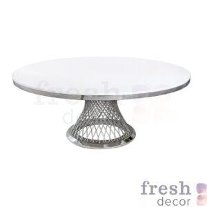 stol metallicheskij kruglyj s serebryanymi spicami i beloj stoleshnicej gerold 1