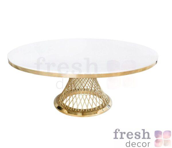 stol metallicheskij kruglyj s zolotymi spicami i beloj stoleshnicej gerold 1