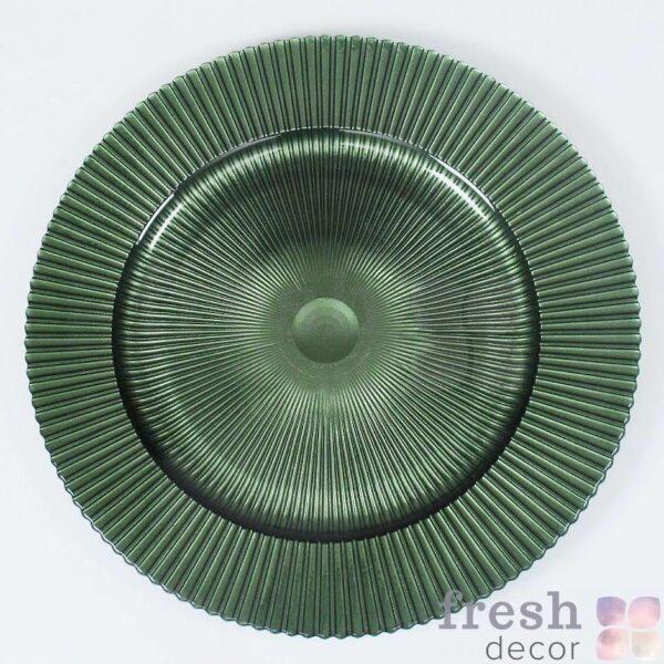 zelenaya podstanovochnaya tarelka iz stekla 1