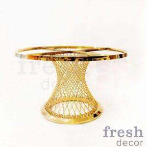 zolotoj furshetnyj stol diametrom 120 sm s beloj stoleshnicej 1