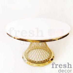 zolotoj kruglyjfurshetnyj stol diametrom 120 sm s beloj stoleshnicej 2